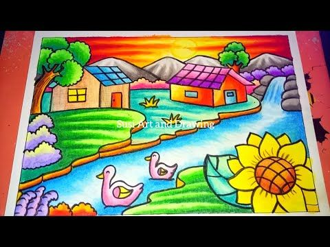 Cara Menggambar Dan Mewarnai Pemandangan Alam Rumah Air Terjun Dan Pegunungan Drawing Scenery Youtube Cara Menggambar Seni Buku Drawing