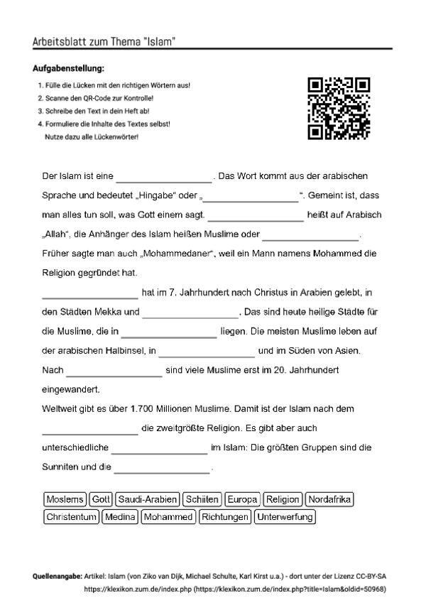 Arbeitsblatt Lunge Quran : Arbeitsblatt mit lückentext zum thema quot islam unterricht