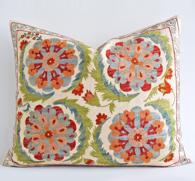 Hand Embroidery Silk Suzani pillow