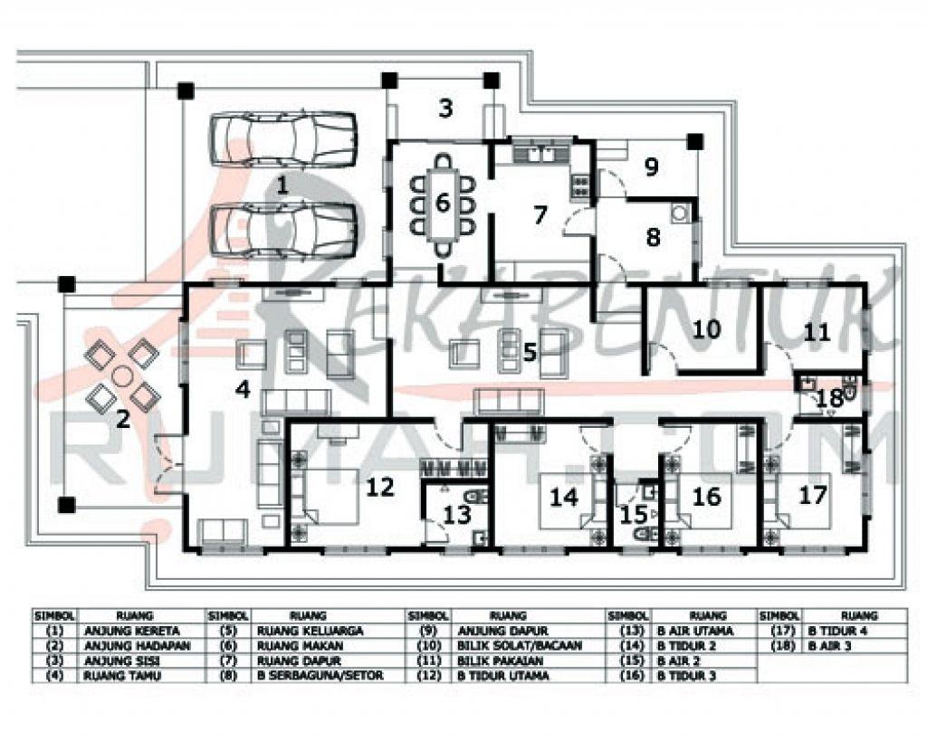 Pelan Rumah 2 Tingkat 6 Bilik House Plans Design Floor