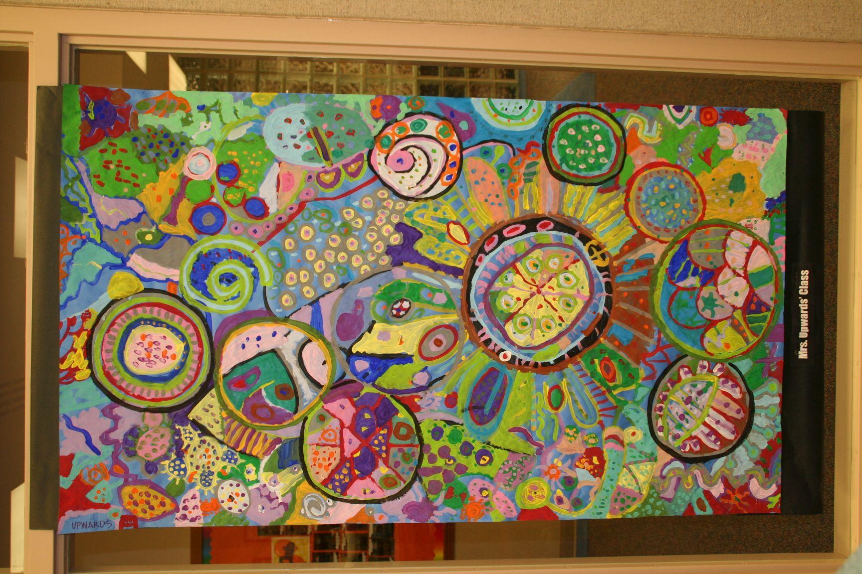 Collaborative Art Circle Paintings 3rd Grade