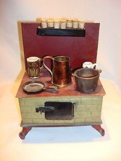 French Depose Metal Dollhouse Stove c1900 France Miniature ...
