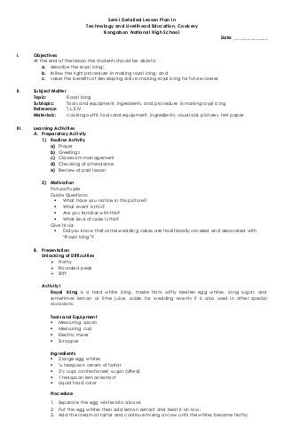 Semi Detailed Lesson Plan in T.L.E, Cookery | Education | Pinterest