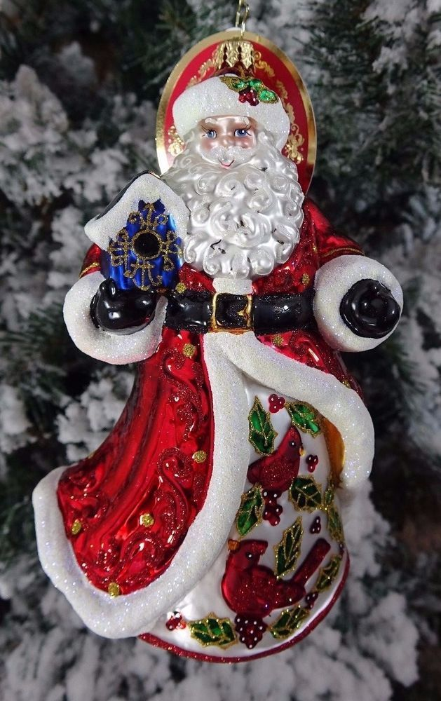 Santa with Cardinal Christmas Ornament Tree Decoration
