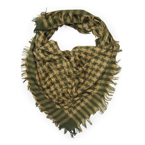 Trendy Premium Houndstooth Check Soft Square Scarf - Green & Light Brown Multi By TrendsBlue