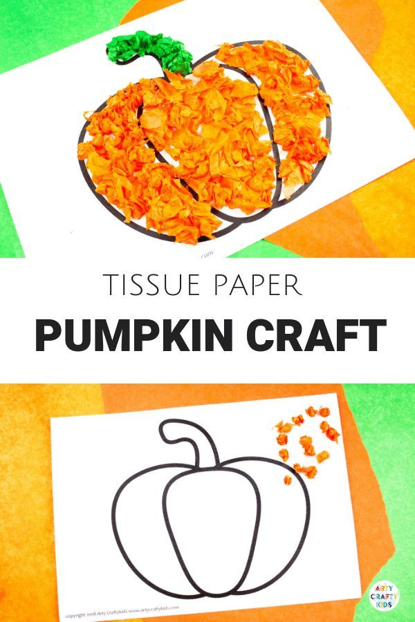 Tissue Paper Pumpkin Craft #halloweencraftsfortoddlers