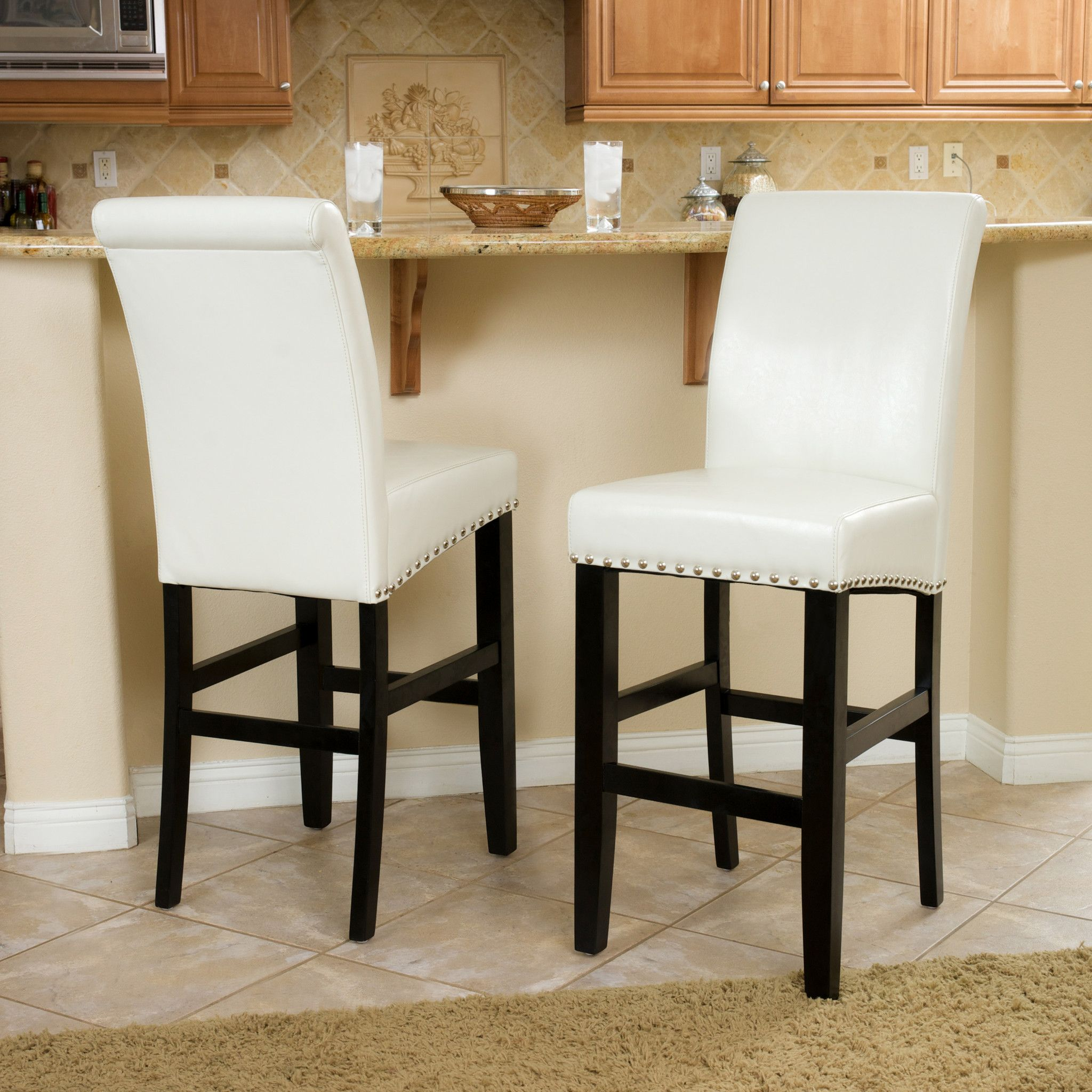 Clifton 30 Inch Ivory Leather Bar Stool Set Of 2 With Images