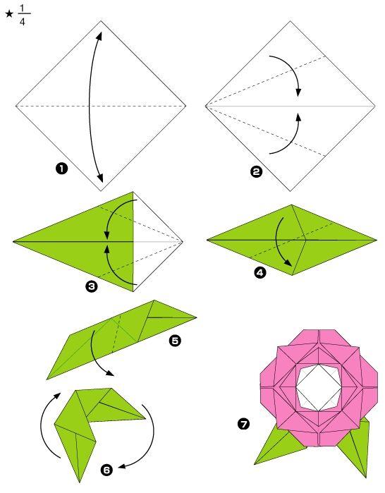 diagramme d 39 origami de rose tape 2 id e f te des m re. Black Bedroom Furniture Sets. Home Design Ideas