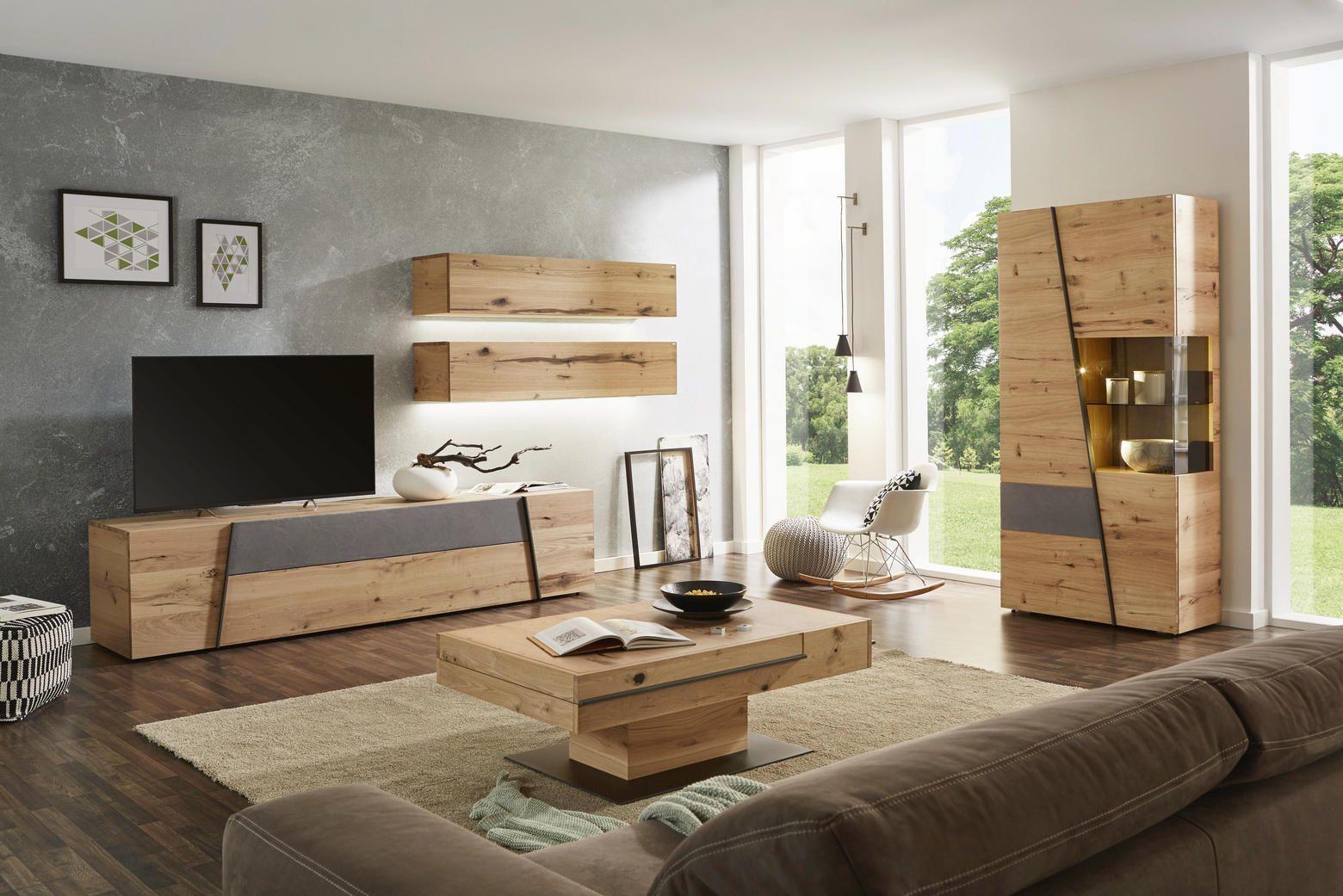 Wohnwand In Grau Naturfarben In 2019 Home Wohnzimmer Stauraum