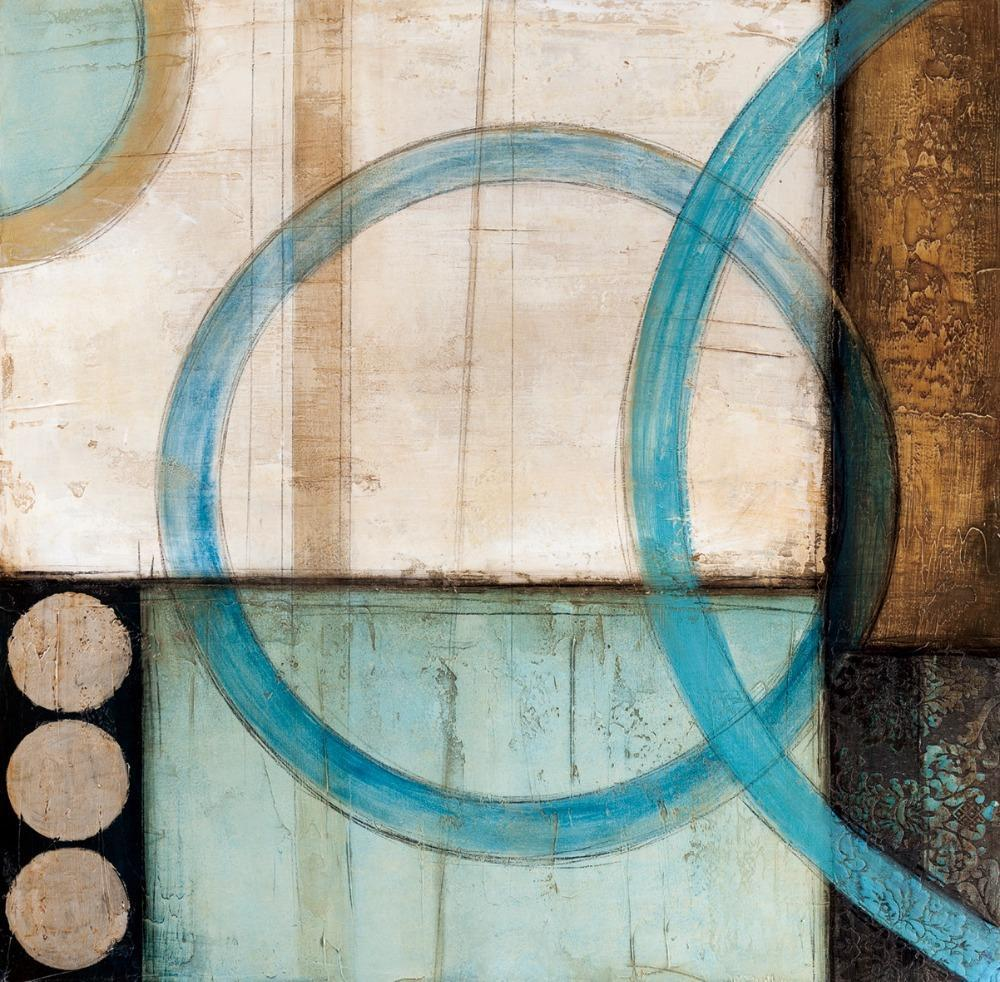 Blue Brown Circles Canvas Art Blue Abstract Painting Brown