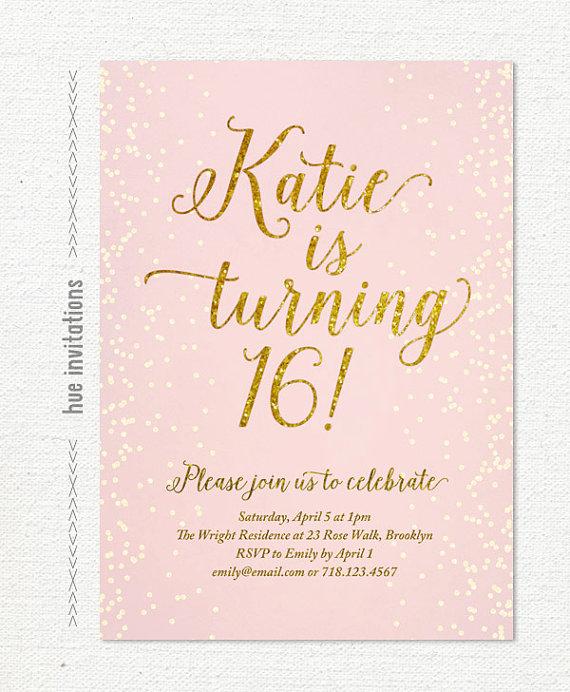 Blush Pink Gold Glitter Sweet 16 Party Invitation Teen Birthday