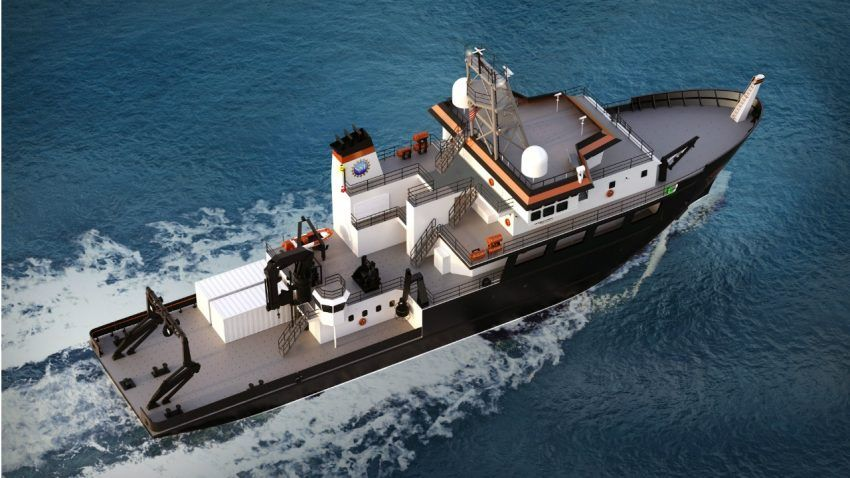 U.S. Senate calls for building three, not two, new regional research vessels.  An artist's conception of a new regional class research vessel.
