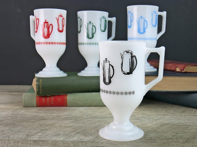 Federal Glass Electric Percolator Design Irish Coffee Mugs