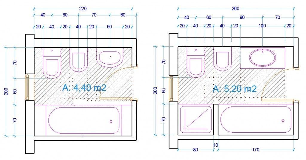 Esempio dimensioni sanitari bagno con vasca ergonomia - Misure vasca bagno ...