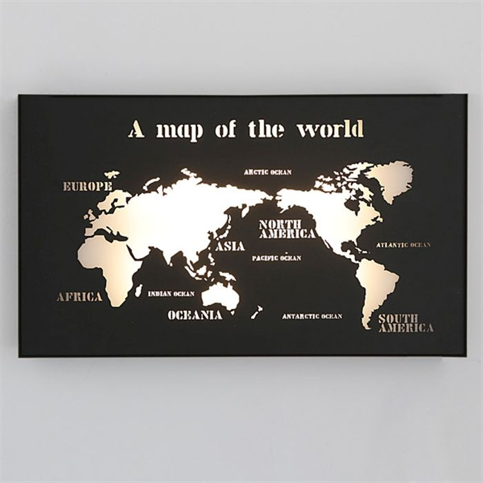 Creative led wall map of the world affiliate lamps shades modern fashion blackwhite carved iron acryl led wall lamp for living room study aisle map of the world ac 1242 gumiabroncs Gallery