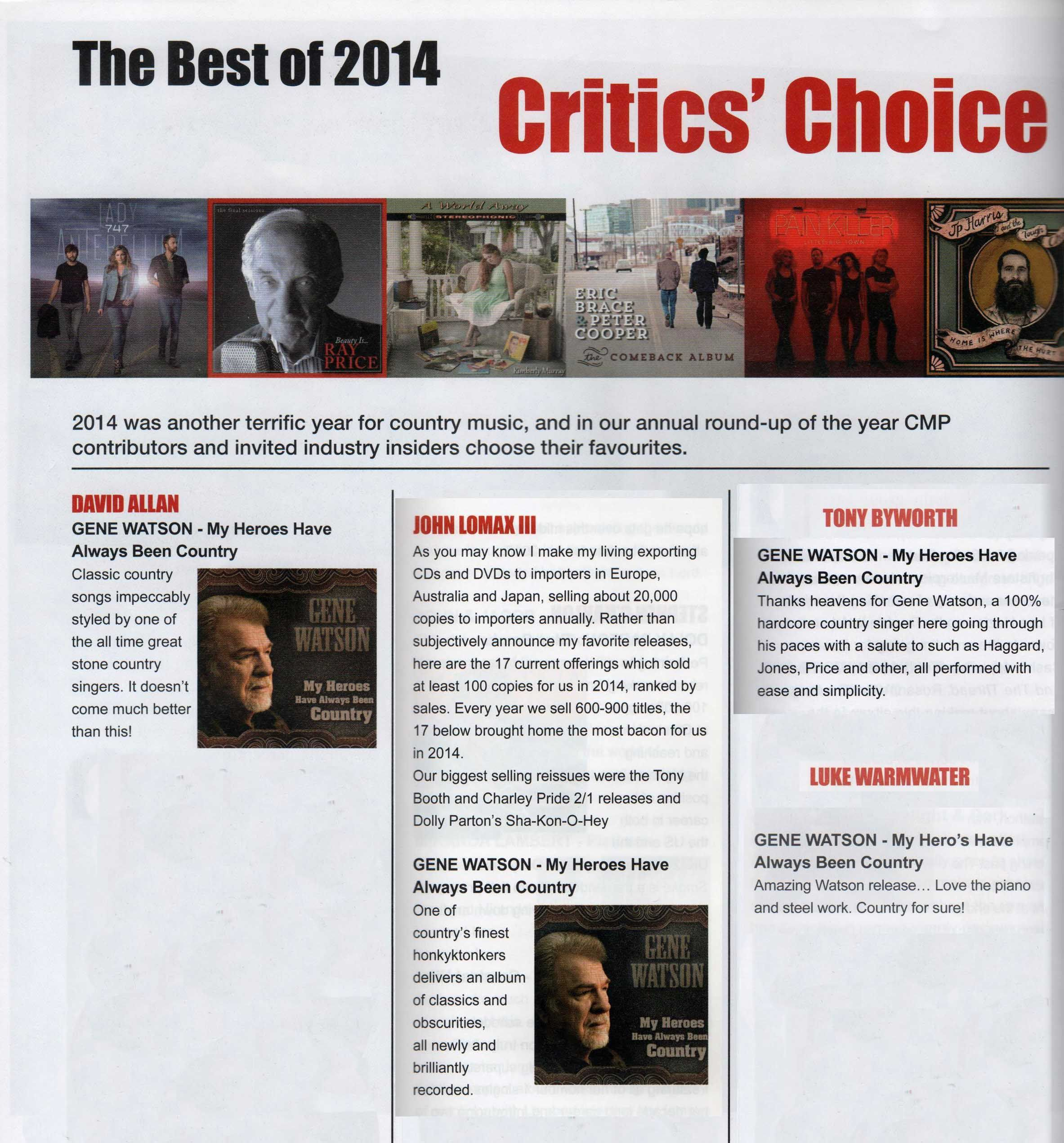 "Critics Choose ""Heroes""CD as BEST of 2014 CD releases"