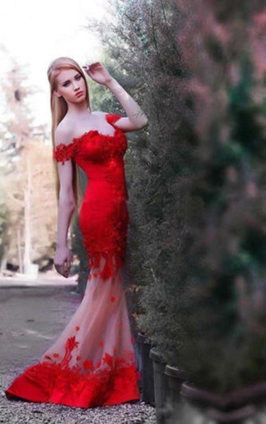 new sexy red seethrough wedding dress ball prom party formal