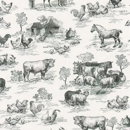 Fabric AGBD-18645-2 BLACK from Down On The Farm Collection, from Robert Kaufman - continuous yardage, 1 yd 32