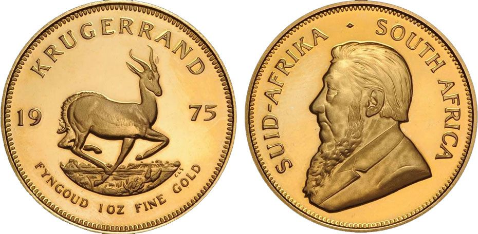 South African Kr 252 Gerrand Krugerrand 1975 1oz Fyngoud Fine Gold Paul Kruger