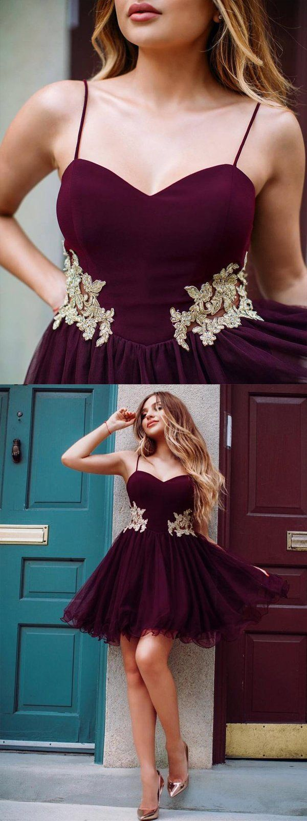 Gold lace applique homecoming dresses burgundy homecoming dresses