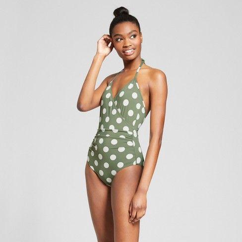 4e55fafee4b5 Sunn Lab Women's Polka Dot Halter Wrap One Piece Swimsuit - Moss/Pearl :  Target