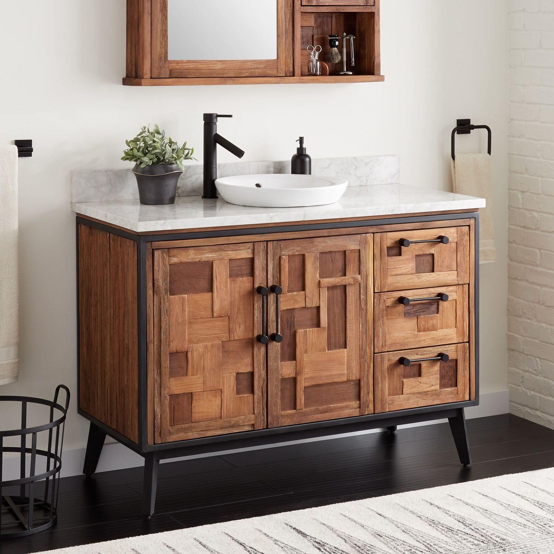 48 Helms Reclaimed Teak Vanity For Semi Recessed Sink Bathroom Small Room Design Teak Vanity Teak Bathroom
