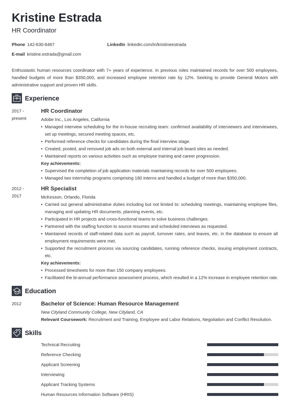 Hr Coordinator Resume Example Template Newcast Basic Resume Examples Professional Resume Examples Job Resume Examples