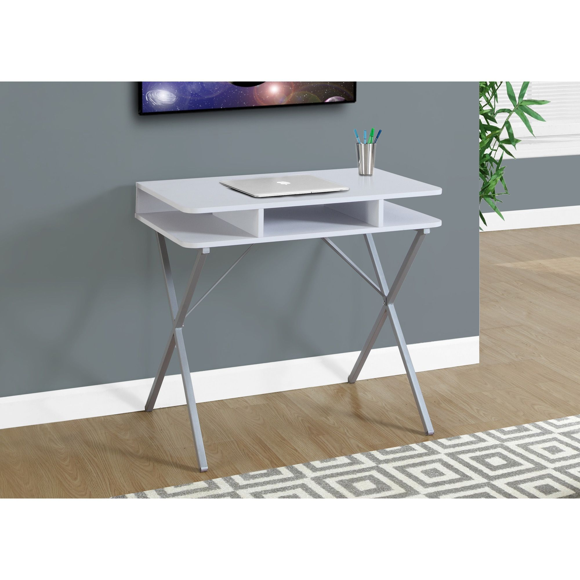 White Laminate And Metal 31 Inch Computer Desk Home Office