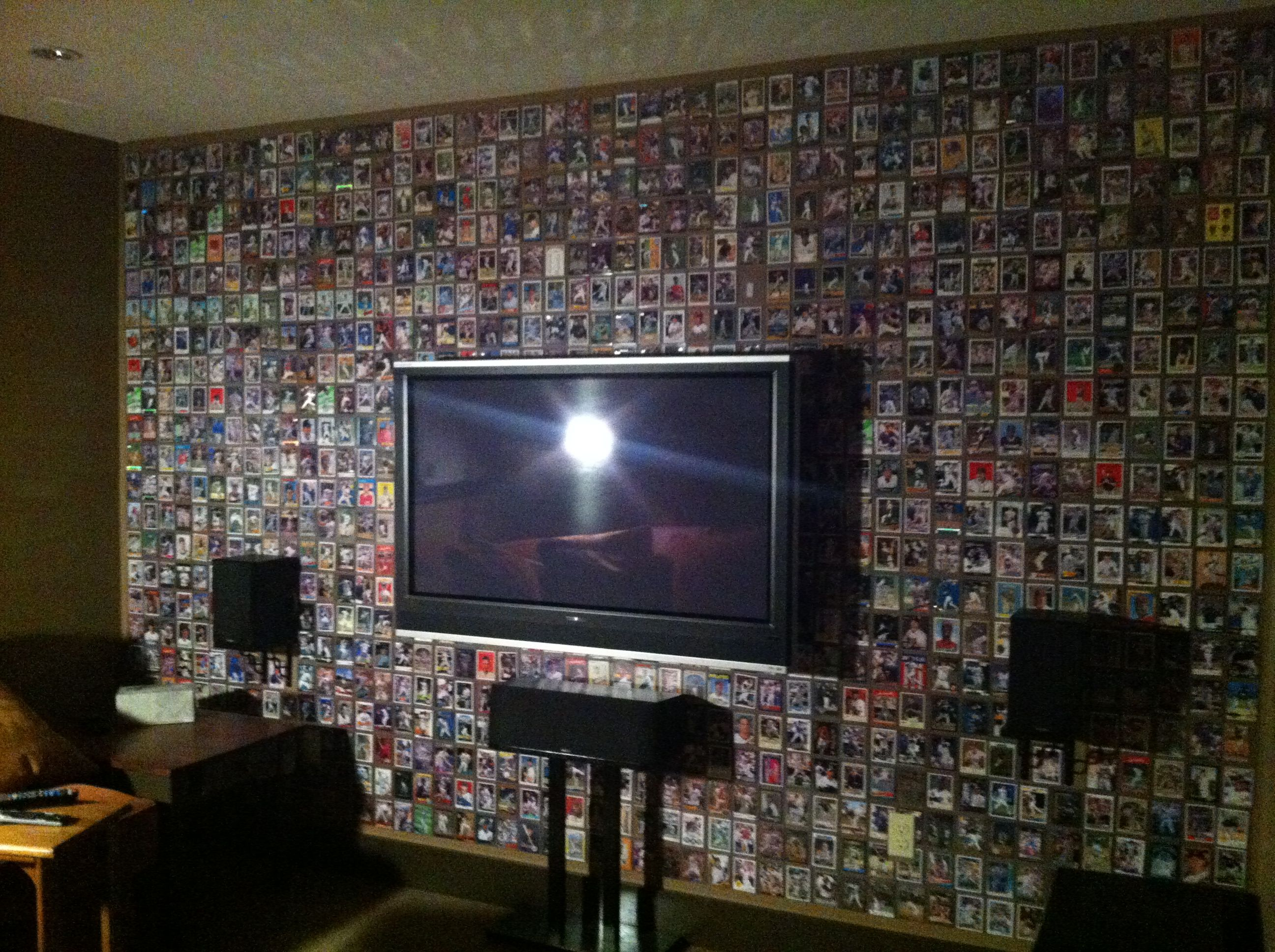 Wall Cover With Baseball Cards Plastic Top Load Sleeve Double Sides Sticky Tape And