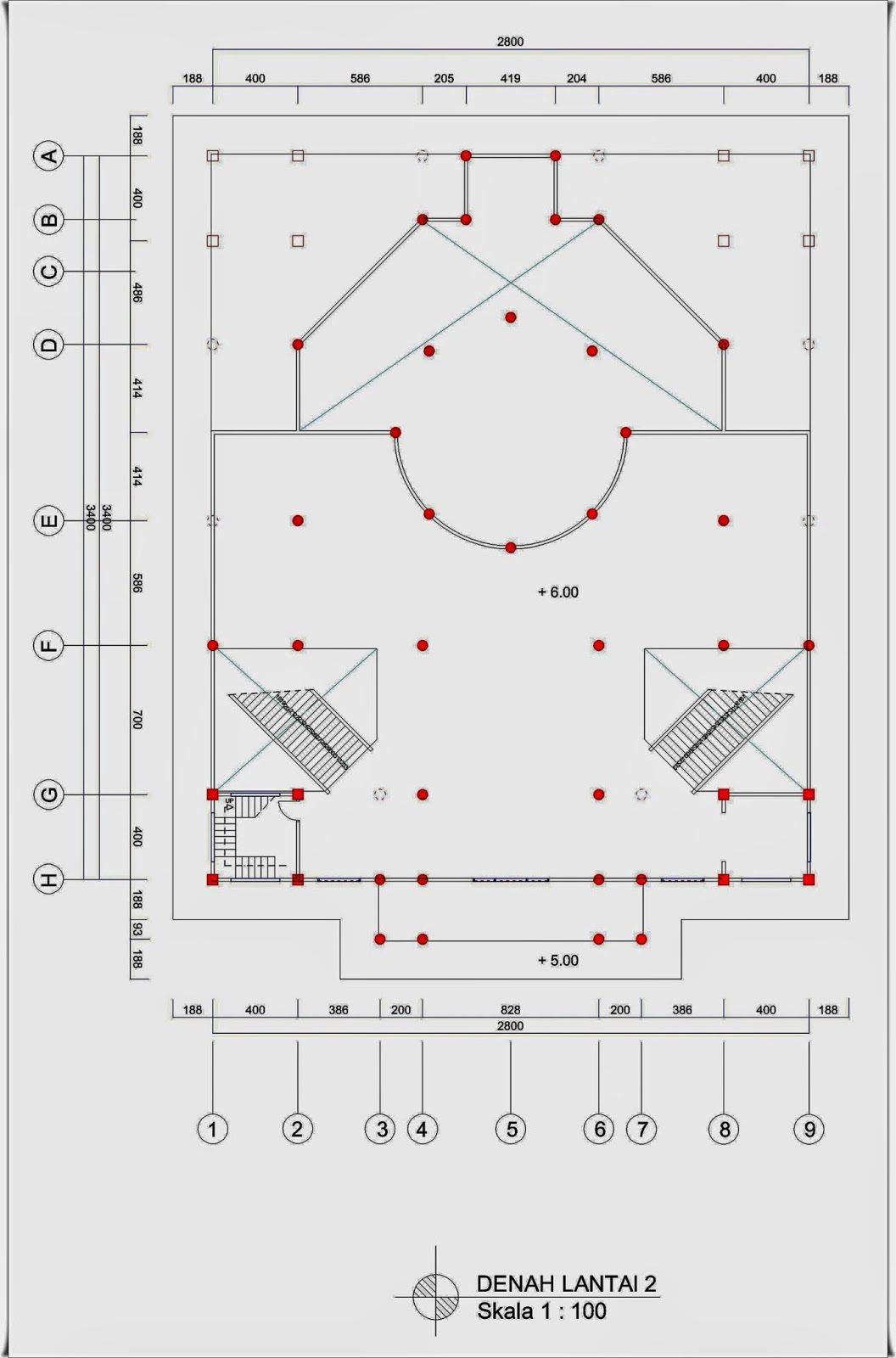 Masjid 2 Lantai Ukuran 28 M X 34 M Dengan 1 Menara Di 2020 Dengan