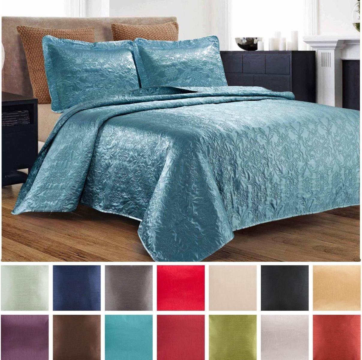 3 Piece Silky Satin Quilted Bedspread Coverlet Set King Queen Size Colors Brown Bed Spreads Quilted Bedspreads Satin Quilt