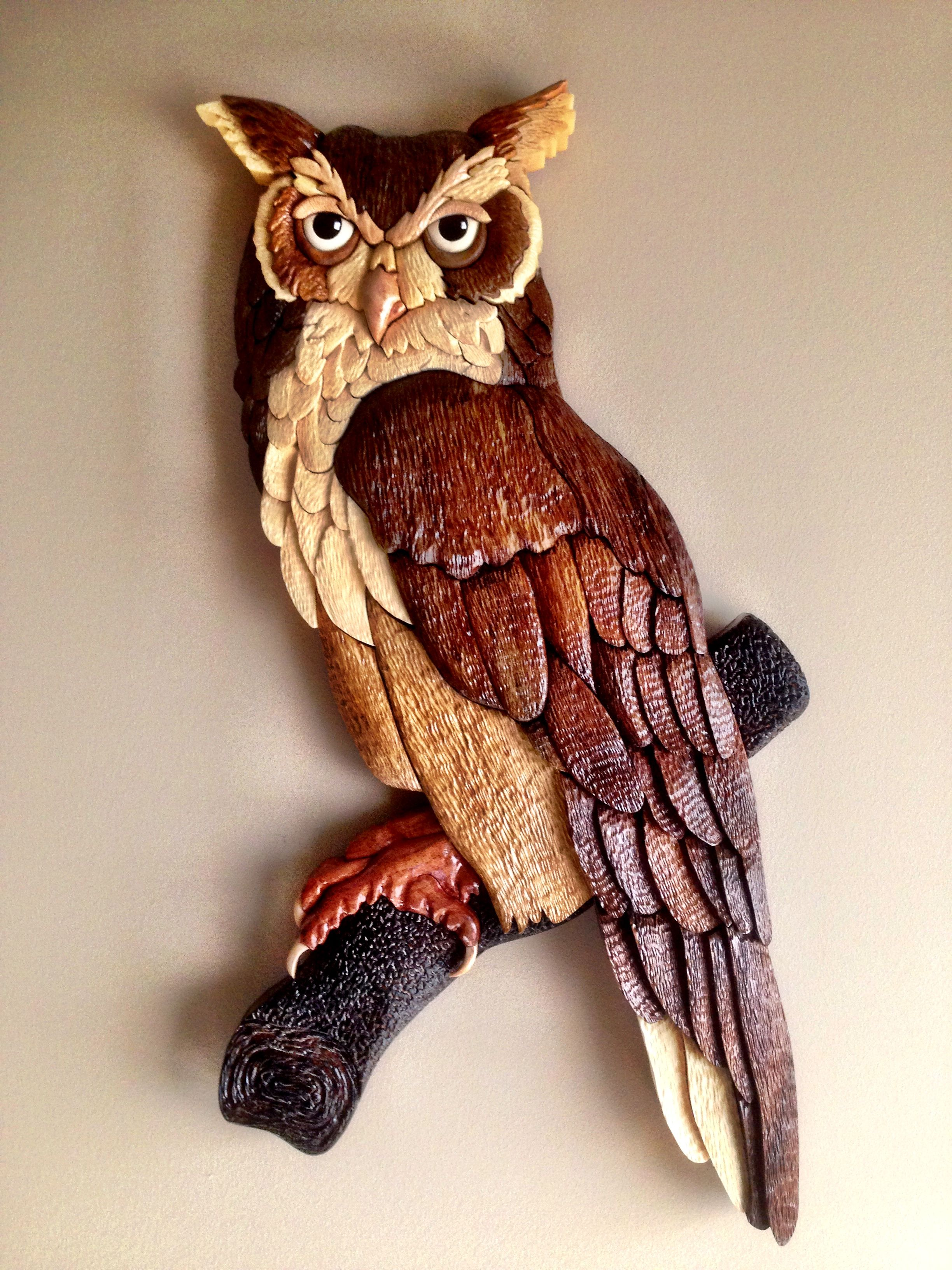Owl intarsia with a little carving added