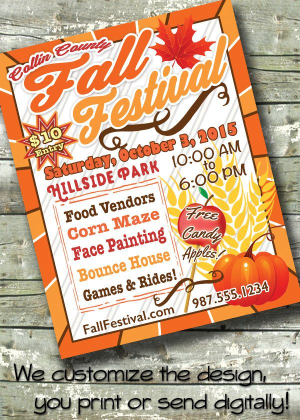 FALL FESTIVAL FLYER ~ Harvest Fest ~ Carnival 5x7 Invite ~ 85x11 - fall flyer