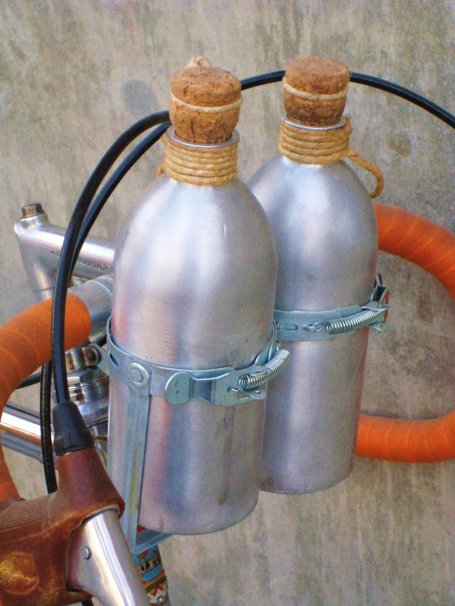 Handlebar mounted aluminum water bottles in the vintage way. Maximum ...
