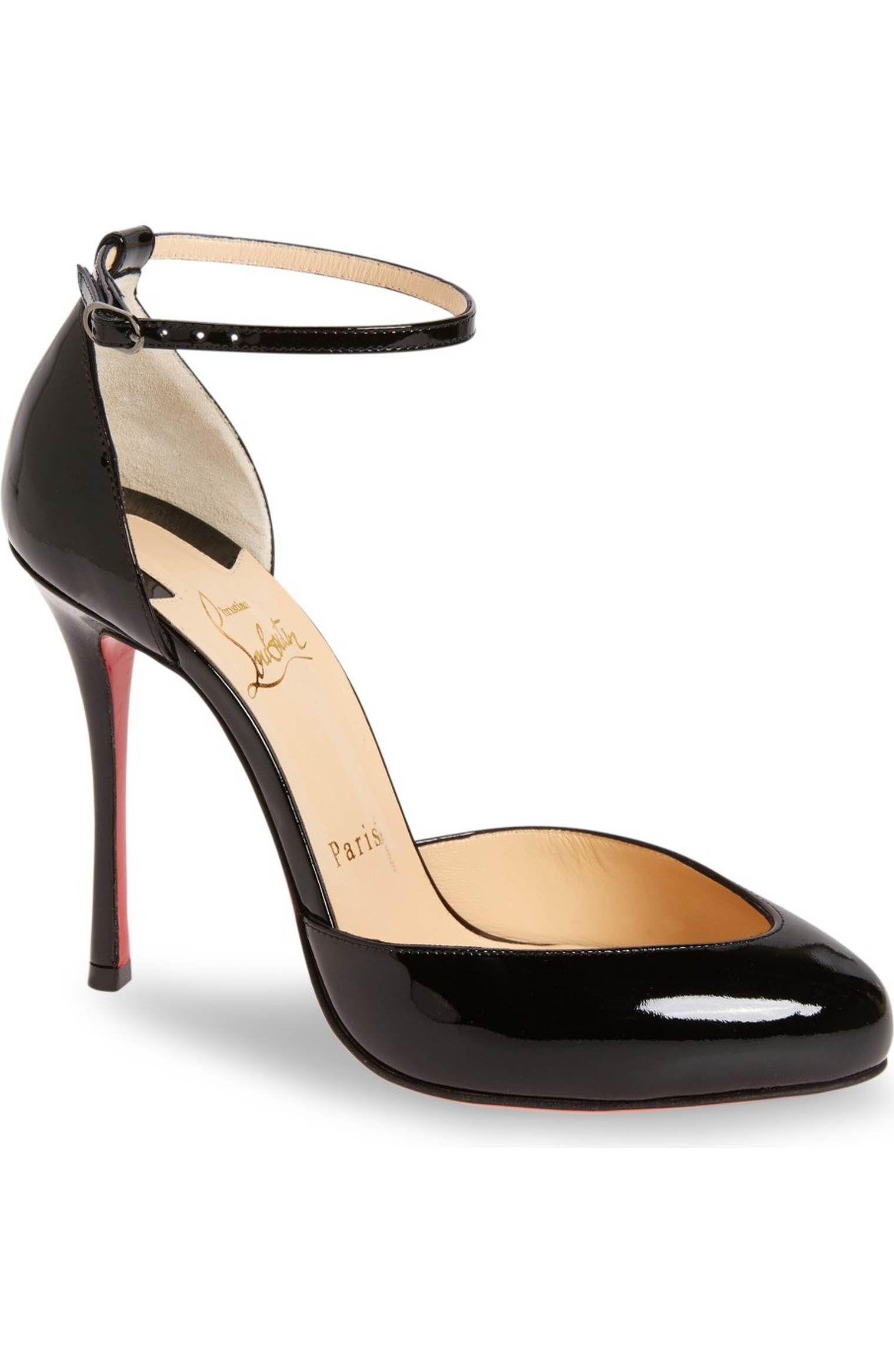 2b048baedabd Christian Louboutin  u201cDollyla u201d Low-Vamp Ankle-Strap Pumps in Black  Patent