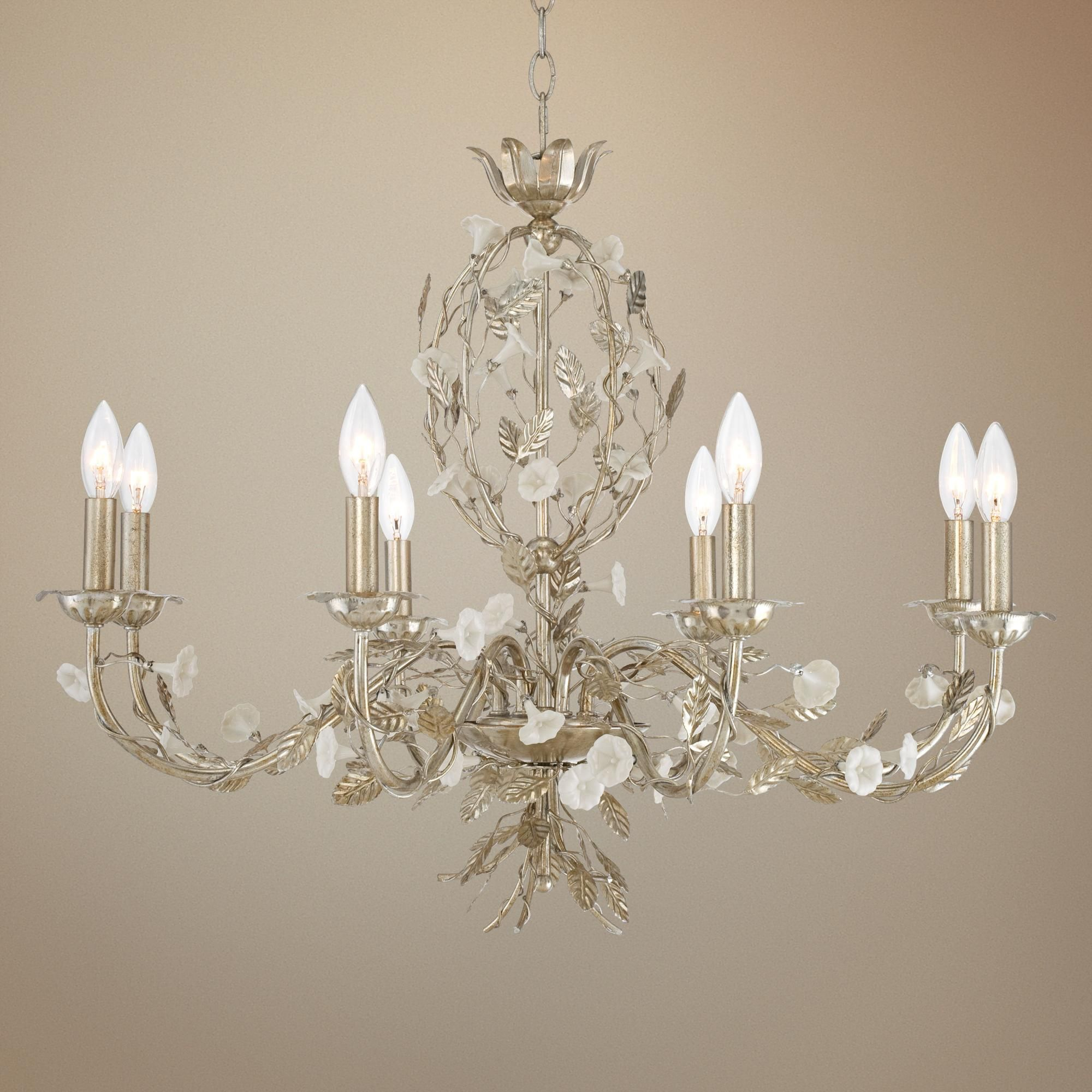 "Champagne Leaves 30"" Wide Silver Chandelier"