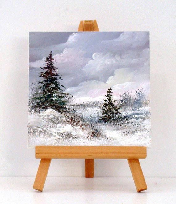 Tree in the Snow Abstract Miniature Acrylic Painting with Easel