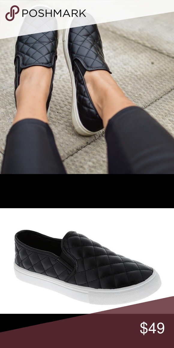 3124cfad43 Black Vegan Faux Leather Quilted Slip On Sneakers Trendy and stylish faux  vegan black quilted leather slip on sneakers - keep your casual look stylish !