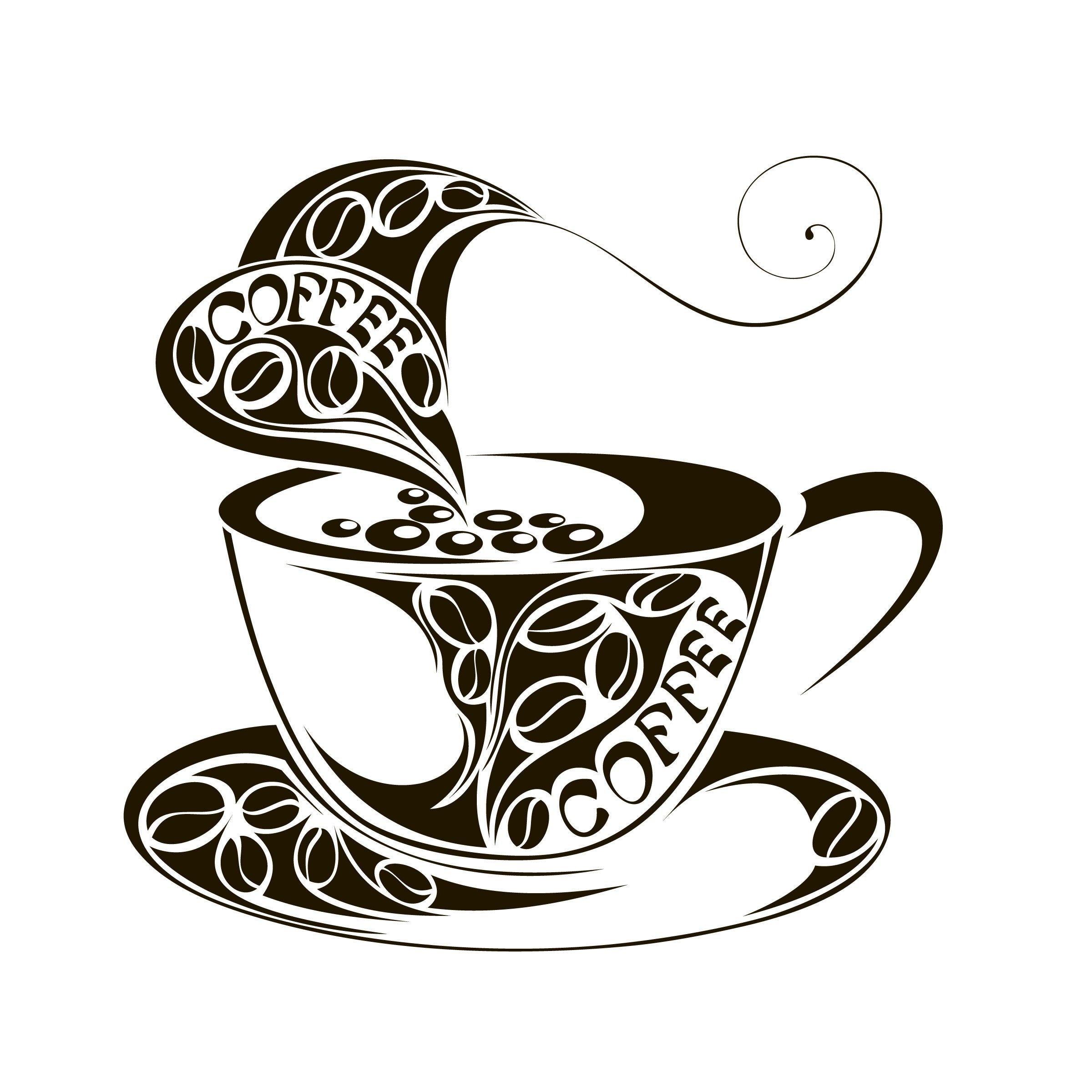 Coffee and tea cups, digital clip art, clipart set, logo