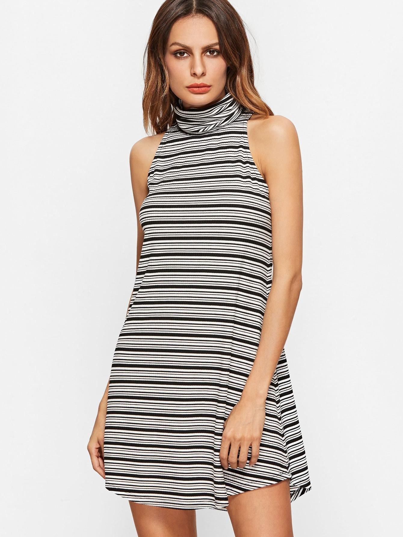 Makemechic makemechic black and white striped turtleneck curved