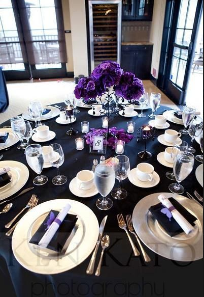 Reception Flowers Decor White Purple Black Centerpieces