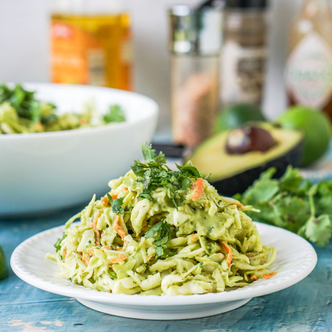Creamy Cilantro Lime Coleslaw (an easy low carb side dish) #tacosidedishes