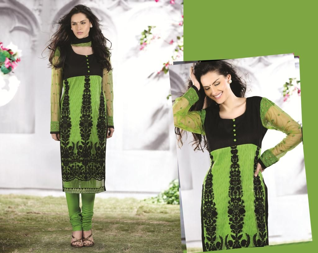$108.19 Green A Line Embroidery Net Churidar Salwar Kameez 23050