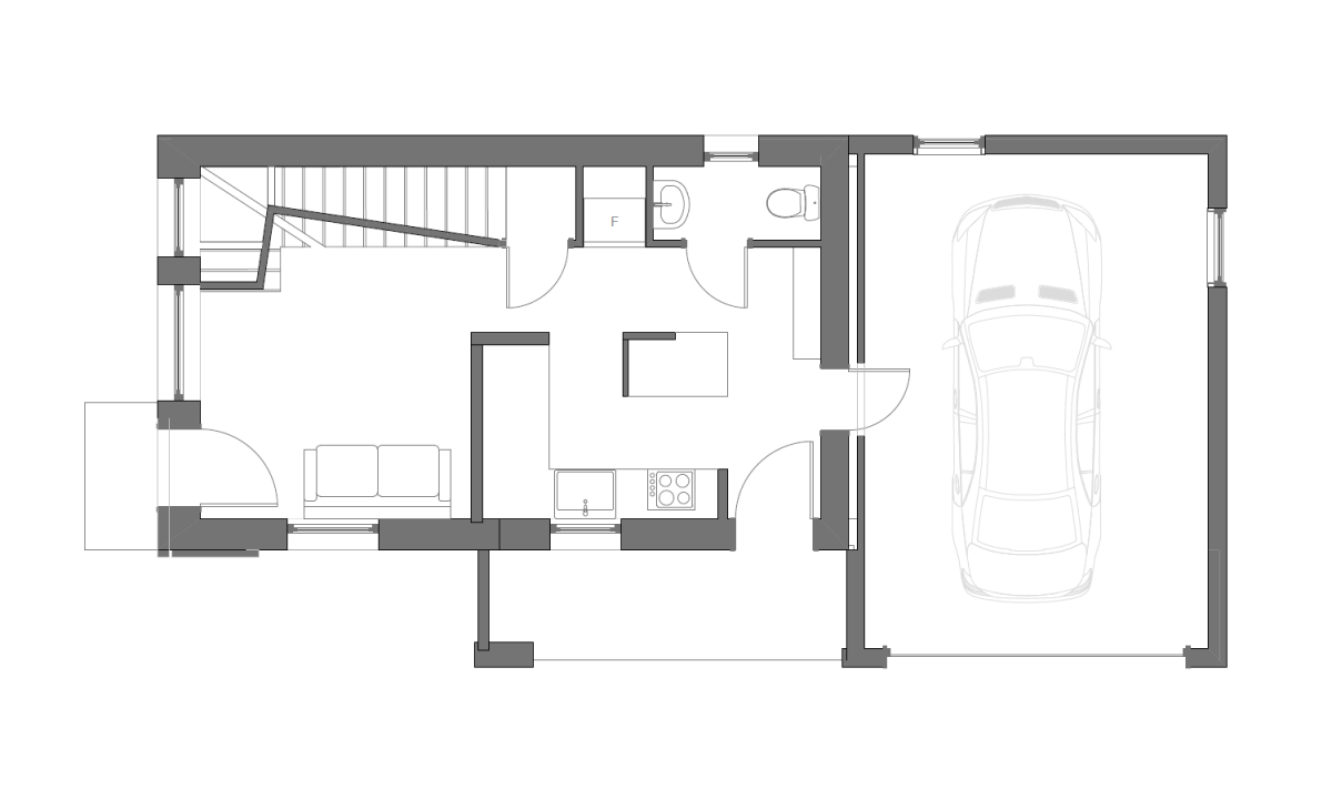 Ground floor of a 2 bedroom super insulated house in for Super insulated house plans