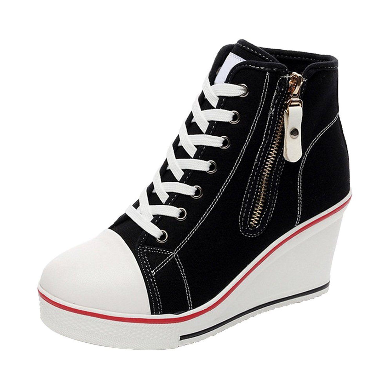 990985134b318 Amazon.com | Women's Canvas High-Heeled Platform Wedge Fashion ...