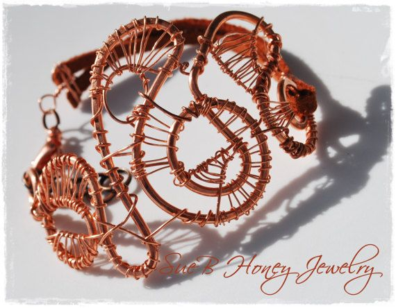 Copper Wire-Wrapped Statement Bracelet with leather by suebhoney