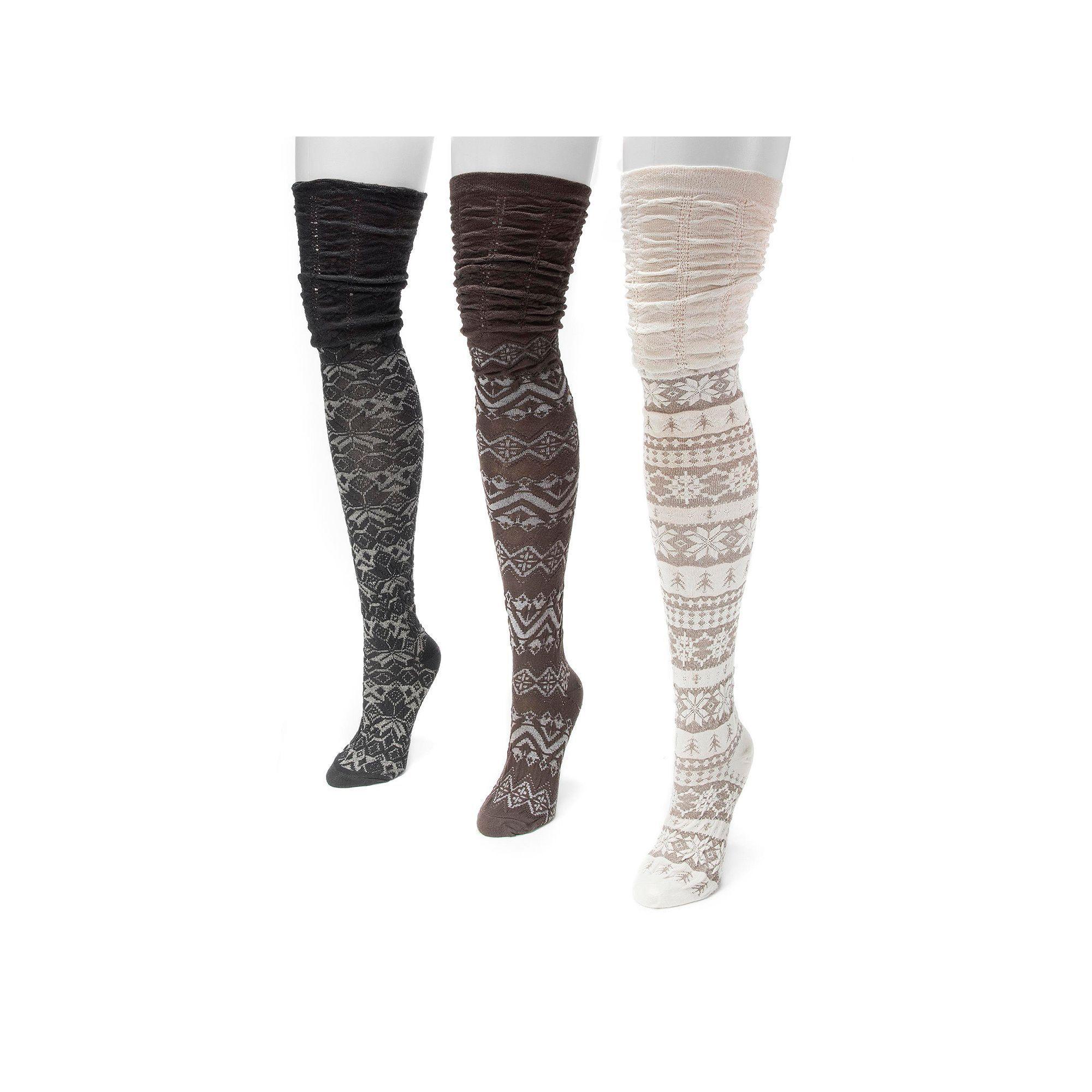 f528676959f Muk Luks 3-pk. Women s Microfiber Fairisle Over-the-Knee Socks ...