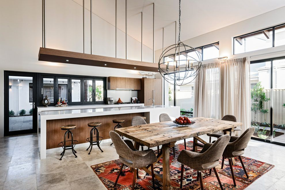 Smart Kitchen And Dining Room Combo Designs Beige Marble Countertop Ideas  And Traditional Pendant Lighting An