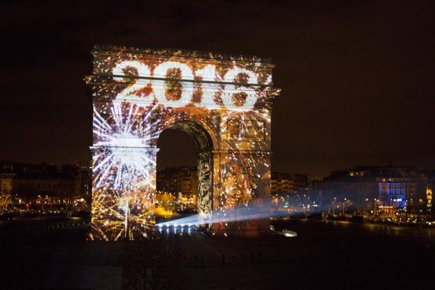 The Arc de Triomphe was lit up at midnight   Paris New Year   gone     The Arc de Triomphe was lit up at midnight   Paris New Year