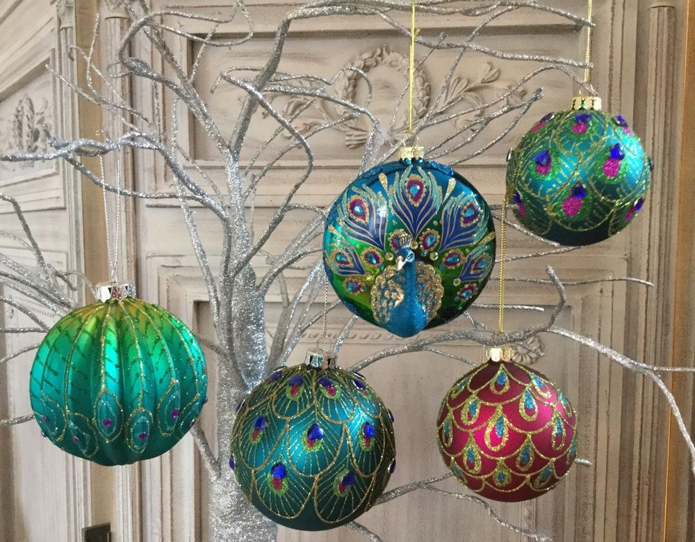 Ebay Christmas Baubles.Details About Gisela Graham Peacock Collection Feather Glass